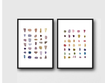 Minimalist Wall Art, Watercolor Paintings Prints Set of two prints,  zen decor, minimal painting abstract art colorful dots