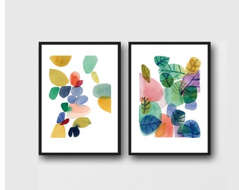 Bright Colorful Affordable Artwork, Set of 2 prints, Office Decor, Botanical Art Prints