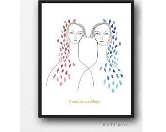 Twin Sister Print, Customisable Portrait Print  Personalized gift, Twin Sisters