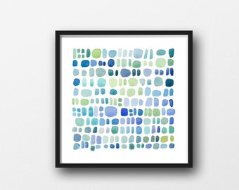 Blue Bathroom Wall Art Pebbles Watercolor Print Bathroom Wall Art Printable Art Coastal Wall Art Beach Print Nautical Digital print