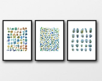 Triptych Wall Art, Pebbles Art Prints, Abstract Nautical Art Prints, Beach House Decor