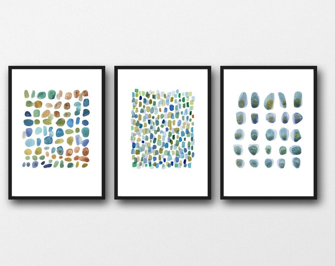 Featured listing image: Triptych Wall Art, Pebbles Art Prints, Abstract Nautical Art Prints, Beach House Decor