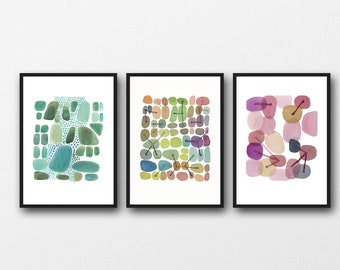 Set of 3 prints, Watercolor Paintings, Green Pink, Abstract Artworks, Gallery Wall Art