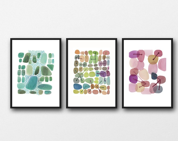 Featured listing image: Set of 3 prints, Watercolor Paintings, Green Pink, Abstract Artworks, Gallery Wall Art