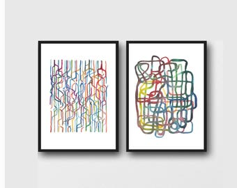 Colorful watercolor paintings, abstract watercolor prints, set of 2 art prints,  abstract watercolor paintings, abstract print