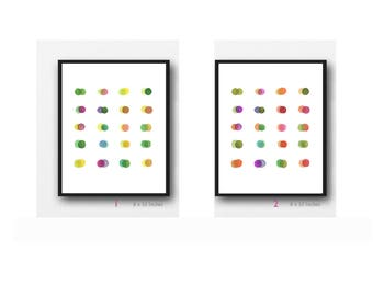 Set of 2 prints, Minimalist Wall Art, Colorful Watercolor Paintings, Abstract Watercolor Art prints