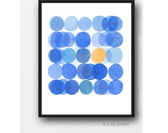 Blue Circles Art, Watercolor print, Kitchen Decor, Modern Minimalist Wall Art