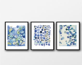 Set of 3 Watercolor Prints, Living Room Decor, Abstract Modern Art, Blue Watercolor Paintings, Set of 3 Watercolor Print set