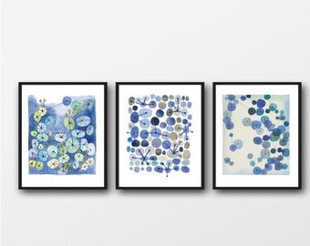 Free Shipping, Set of 3 Watercolor Prints, Blue wall Art, Living Room Decor, Abstract Modern Art, Set of 3 Watercolor Prints