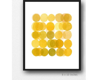 Yellow ArtPrint, Circles, Watercolor print, Kitchen Decor, Modern Minimalist Wall Art