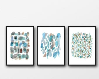 Sea Glass Watercolor Wall Art Prints, Abstract Watercolor art, Set of 3 Prints, Blue Green, Abstract Paintings