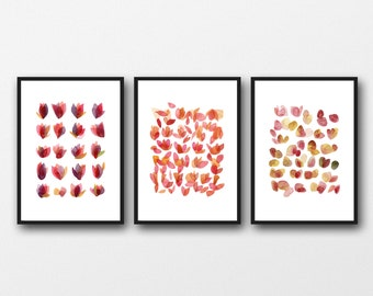 Floral Watercolor Prints, Gifts for Her, Set of 3  prints, Valentines Day Gift for Mom, romantic gift, gifts for woman