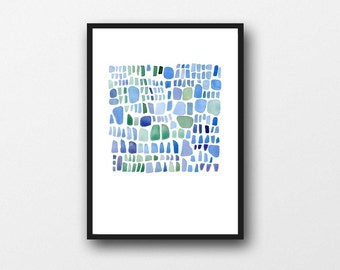 Blue Sea glass art, abstract painting, Blue watercolor painting, archival print,  watercolor art