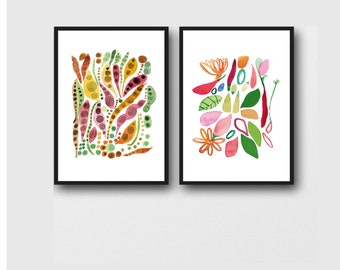 Floral Watercolor Print Set of 2, Floral Wall Art, Colorful Art, Kitchen Art Prints