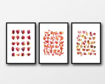 Mothers day Gift for mom, Floral Watercolor Prints, Gifts for Her, Set of 3  prints, Pink Red Floral prints, Mother's day gift
