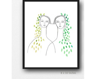 Personalised gift, Sister art print, Watercolor fine Art print, Spring sisters watercolor drawing, twin sisters