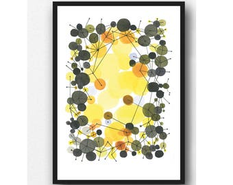 yellow black Watercolor painting, abstract watercolor art yellow sunlight, connected, geometric art, interconnected, watercolor print