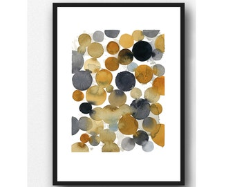 Abstract Watercolor Painting, black brown Terra cotta Watercolor print, Abstract Art Print