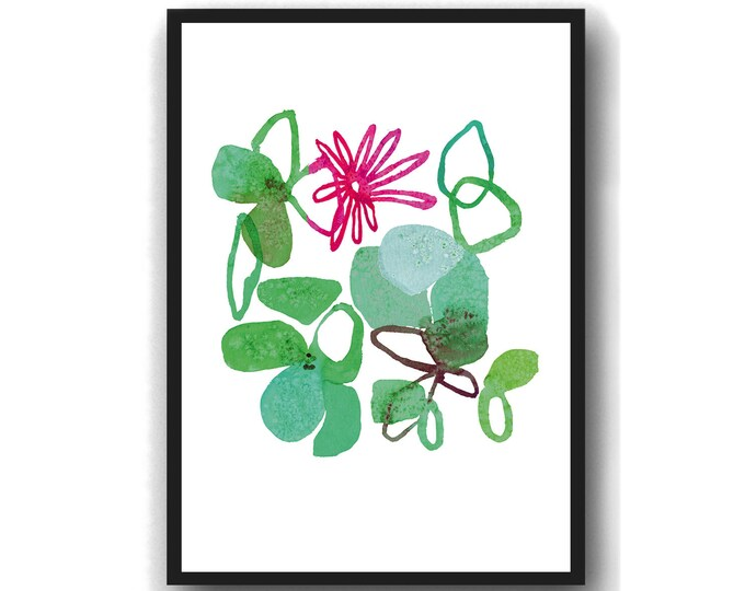 Featured listing image: Modern Flower Art Print, Flower Wall Art, Kitchen Art,  floral Watercolor green , Mother's Day gift for her