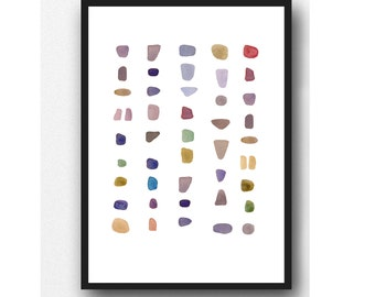 Minimalist art, abstract watercolor print, minimal painting, minimalist nursery room decor