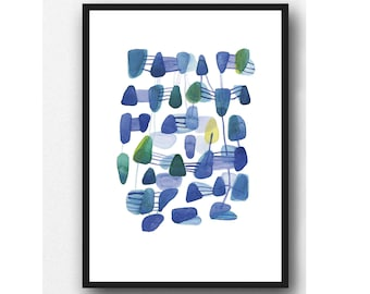 Abstract Watercolor print, blue abstract watercolor painting, connections, abstract modern art, watercolor Giclee