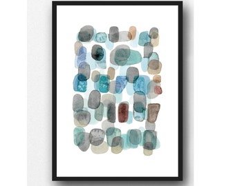Abstract Art Print, Abstract Watercolor Art, Watercolor print Pebbles and Beach Finds