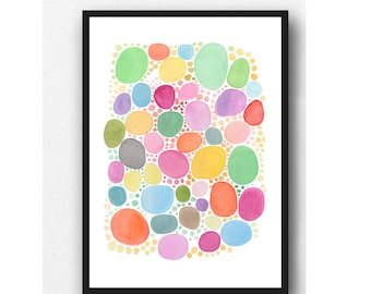 Colorful wall art, Nursery art, Abstract print, colorful art prints, watercolor painting pink yellow green