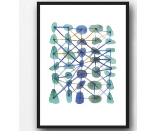 Emerald connections, modern art, abstract watercolor painting, watercolor print, office decor