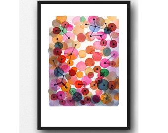 Abstract Ar Print, Watercolor print, abstract watercolor painting pink magenta  red bubbles - Abstract painting