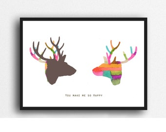 Valentines Day Gift for Him, Fun gift for Boyfriend, Colorful Wall Art of 2 deer