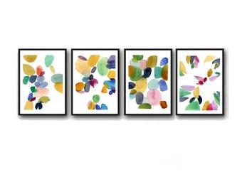 Set of 4 watercolor paintings, Watercolor print set, set of 4 abstract watercolor prints, Colorful home decor,