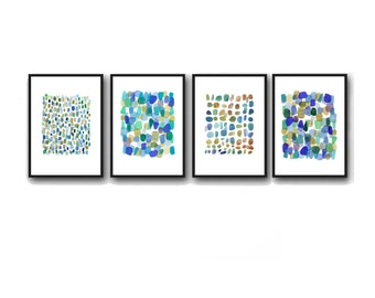 Print Set of 4 Watercolor Prints Gift set, Blue and Green Home Decor, set of 4 abstract watercolor prints, Sea glass Beach finds