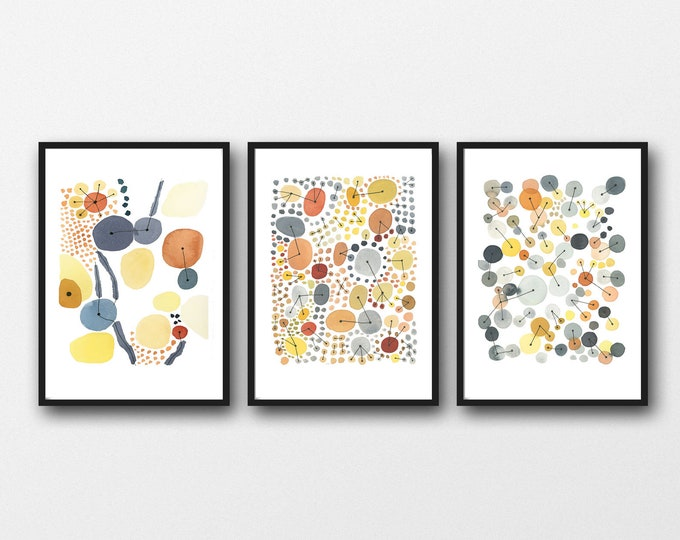 Featured listing image: Watercolor Print Set of 3 , Watercolor Paintings,  Orange Yellow Gray Abstract Art, Gallery Wall Art