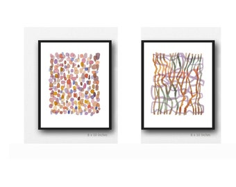 Set of 2 Pink Watercolor paintings,  Abstract Art Prints, Minimal Nursery Decor