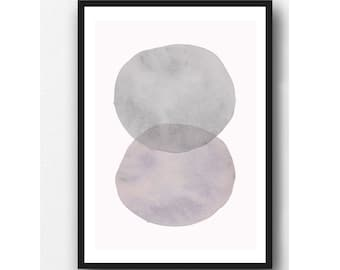 Pink - Gray Minimalist Wall Art,  Minimal Abstract Art