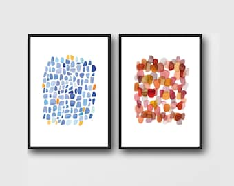 Set of 2 Abstract Watercolor Prints, Affordable Artwork, Blue Sea Glass Print - Red Pebble Art Print, Modern Wall Art set