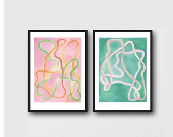 Set Office Decor, Abstract Watercolor Prints, Set of 2 Art Prints Pink and Green, Gallery Wall Art