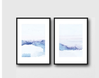 Abstract Landscape Wall Art, Set of Prints, Summer Print Art, Blue Landscape Painting