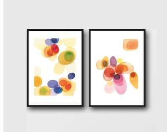 Set of 2 prints, Bright Colorful Affordable Artwork,Office Decor