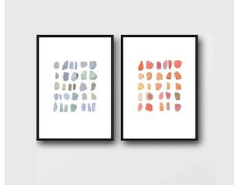 Abstract Art, Set of 2 Prints, Minimalist Wall Art, Red and Blue Pebbles, Gallery Wall