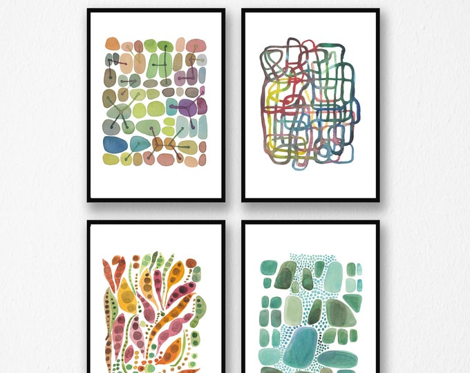 Featured listing image: Set of 4 Watercolor Prints, Abstract Wall Art, Modern Gallery Wall Decor