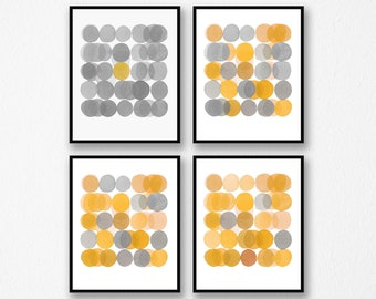 Gallery Wall set, Abstract Art Prints, Set of 4 prints, Minimal Watercolor Paintings, Gray Yellow Art Prints