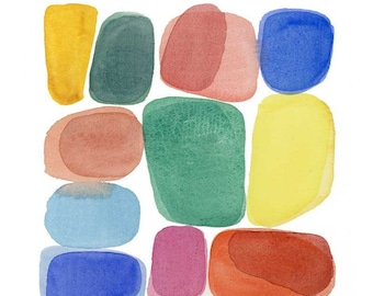Abstract Watercolor painting, Colorful wall Art, Modern home decor
