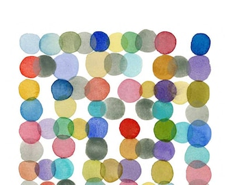 Circles watercolor painting,  Nursery room decor, Watercolor print