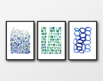 Giclee print / Set of 3 prints  / watercolor paintings blue green abstract art nautical style