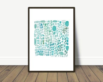 Sea glass art, Turquoise Abstract Watercolor print, Beach House Decor
