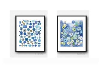 Set of 2 prints, Blue modern Wall Art, Blue Bathroom Watercolor paintings, Abstract Paintings