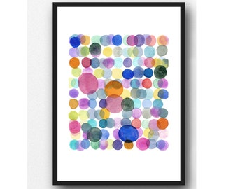 Colorful Watercolor Painting Colored Circles, Abstract Modern Wall Art, Baby Nursery decor