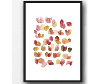 Floral Watercolor painting pink yellow Watercolor rose petals, floral print, gift for her