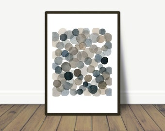 Abstract Watercolor Gray bubbles, Abstract watercolor print, abstract painting dots